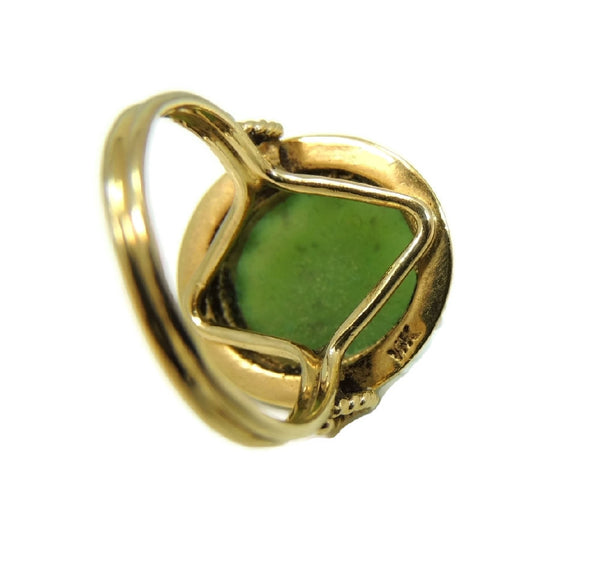 14k Gold Jade Cocktail Ring Art Nouveau Antique Strung Seed Pearls Late Victorian - Premier Estate Gallery  - 6