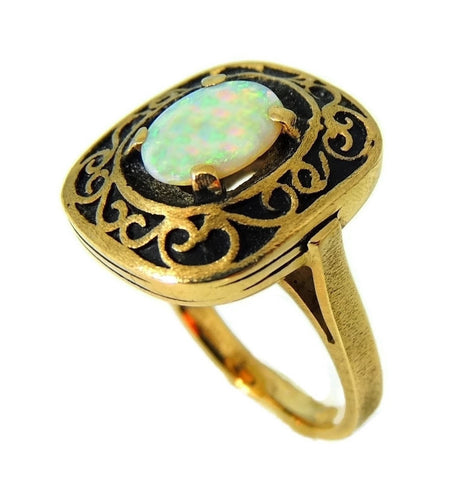 Estate Opal Ring 14k Gold Victorian Style Filigree Setting Vintage - Premier Estate Gallery  - 1