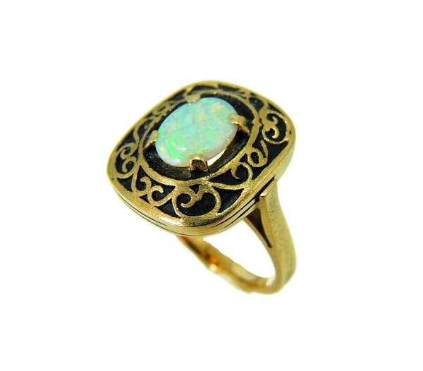 Estate Opal Ring 14k Gold Victorian Style Filigree Setting Vintage - Premier Estate Gallery  - 4