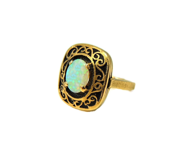 Estate Opal Ring 14k Gold Victorian Style Filigree Setting Vintage - Premier Estate Gallery  - 5