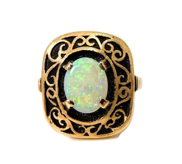 Estate Opal Ring 14k Gold Victorian Style Filigree Setting Vintage - Premier Estate Gallery  - 3