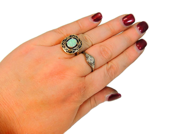 Estate Opal Ring 14k Gold Victorian Style Filigree Setting Vintage - Premier Estate Gallery  - 8
