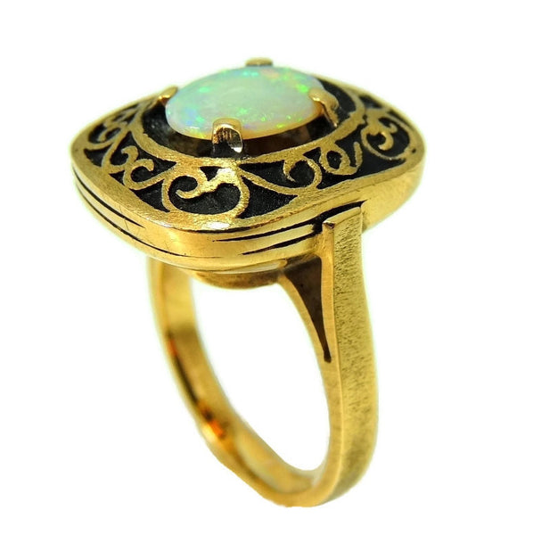 Estate Opal Ring 14k Gold Victorian Style Filigree Setting Vintage - Premier Estate Gallery  - 2