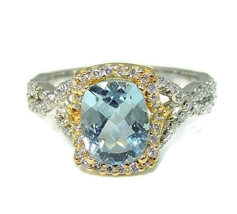 Estate Aquamarine Diamond Ring 14k Gold Contemporary Vintage Gemstones