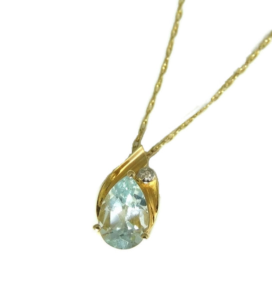 14k Aquamarine Gemstone Pendant and Gold Chain SOLD - Premier Estate Gallery  - 1