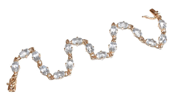 Estate 14k Gold Aquamarine Tennis Bracelet 17 Stones 5.61 ctw - Premier Estate Gallery 2