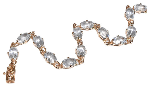 Estate 14k Gold Aquamarine Tennis Bracelet 17 Stones 5.61 ctw - Premier Estate Gallery