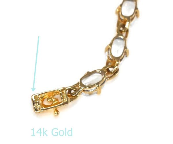 Estate 14k Gold Aquamarine Tennis Bracelet 17 Stones 5.61 ctw