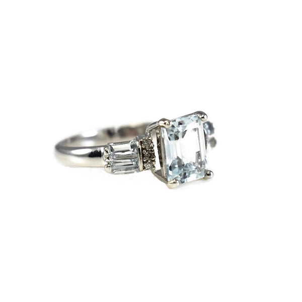 Estate 14k Aquamarine Diamond Accent Ring White Gold 2.39 ctw - Premier Estate Gallery 5