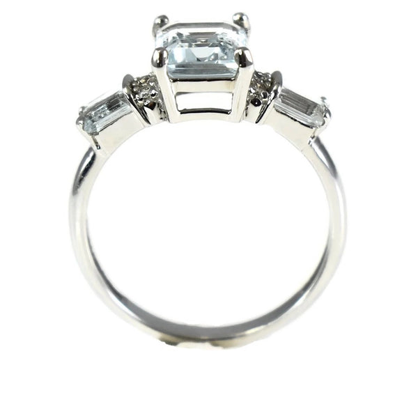 Estate 14k Aquamarine Diamond Accent Ring White Gold 2.39 ctw