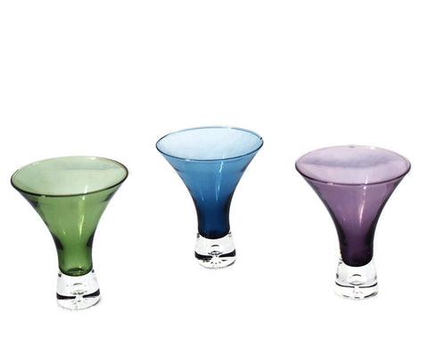 Modern Art Glass Cocktail Glasses X3 Multi Color Funnel Shape - Premier Estate Gallery