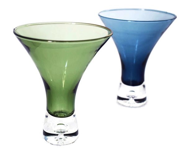 Modern Art Glass Cocktail Glasses X3 Multi Color Funnel Shape - Premier Estate Gallery 2