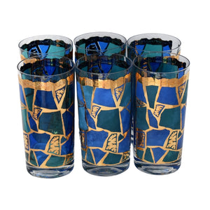 Vintage Georges Briard Europa High Ball Tumblers MCM Barware Gold Metallic Blue Teal - Premier Estate Gallery