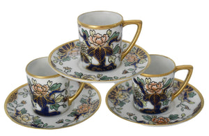 Hand Painted Nippon Chocolate Cups and Saucers Cobalt Blue Gold Moriage Antique - Premier Estate Gallery