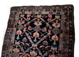 Estate Antique Persian Malayer Rug Runner Hand Knotted Coral Navy Periwinkle c1920 - Premier Estate Gallery 3