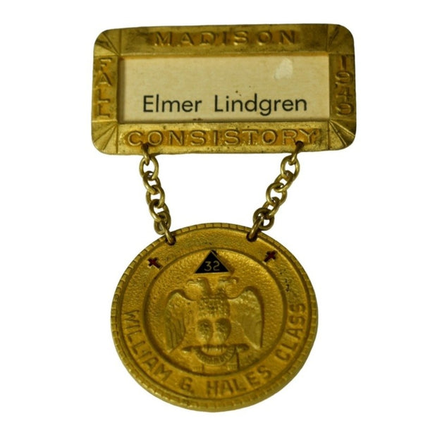 Vintage Brass Masonic Medal Madison WI Consistory 32nd 33rd Degree Scottish Rite - Premier Estate Gallery 1
