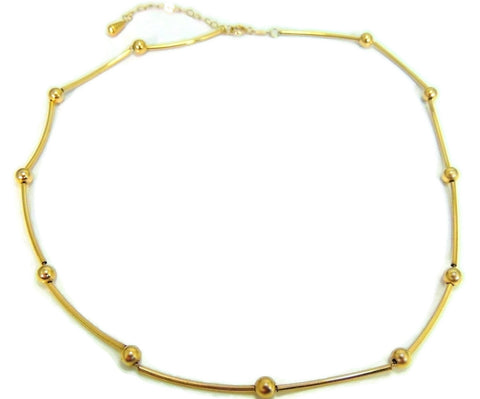 14k Polished Bar and Bead Necklace Contemporary Vintage Gold - Premier Estate Gallery  - 1