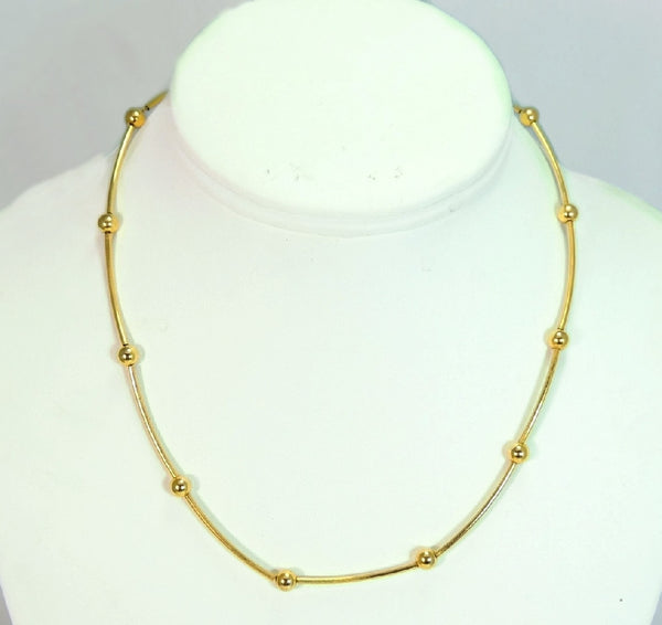 14k Polished Bar and Bead Necklace Contemporary Vintage Gold - Premier Estate Gallery  - 2