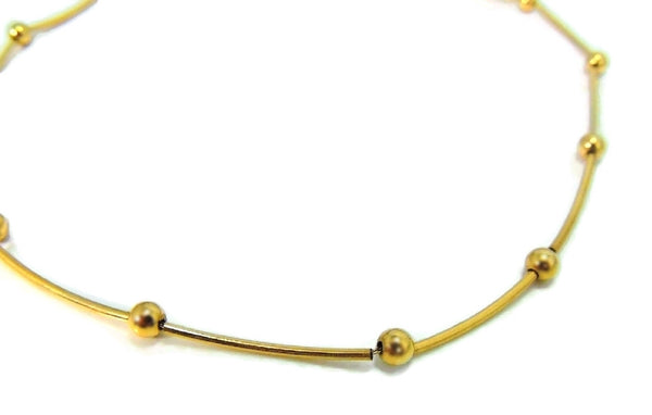 14k Polished Bar and Bead Necklace Contemporary Vintage Gold - Premier Estate Gallery  - 3