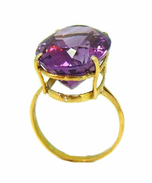 Huge Amethsyt Ring 14k Gold 14 Carats of Purple Gemstone Vintage - Premier Estate Gallery  - 2
