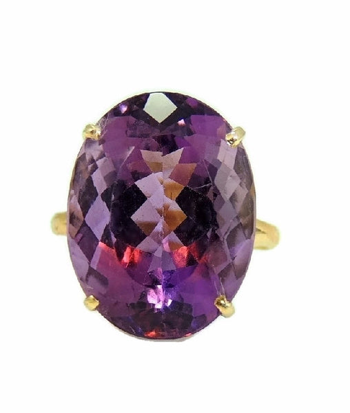Huge Amethsyt Ring 14k Gold 14 Carats of Purple Gemstone Vintage - Premier Estate Gallery  - 5