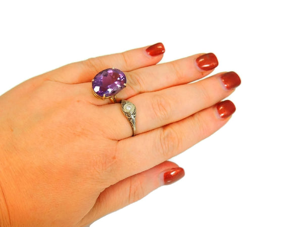 Huge Amethsyt Ring 14k Gold 14 Carats of Purple Gemstone Vintage - Premier Estate Gallery  - 3