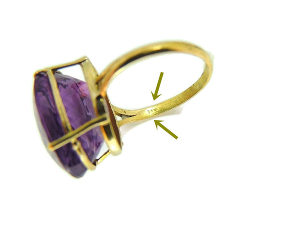 Huge Amethsyt Ring 14k Gold 14 Carats of Purple Gemstone Vintage - Premier Estate Gallery  - 7