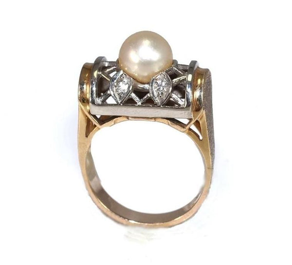 Estate 14k Pearl and Diamond Lattice Ring - Premier Estate Gallery