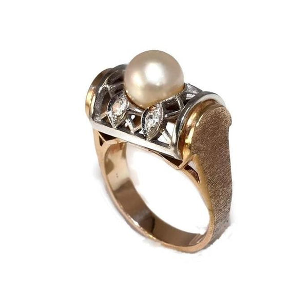 Estate 14k Pearl and Diamond Lattice Ring - Premier Estate Gallery 2