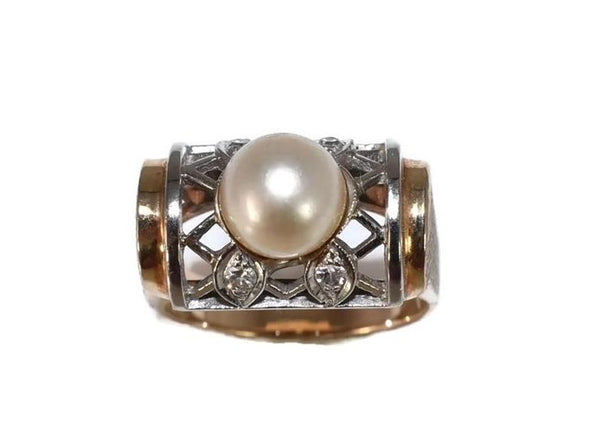 Estate 14k Pearl and Diamond Lattice Ring Yellow and White Gold