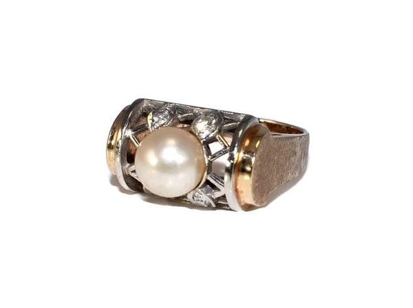 Estate 14k Pearl and Diamond Lattice Ring - Premier Estate Gallery 3