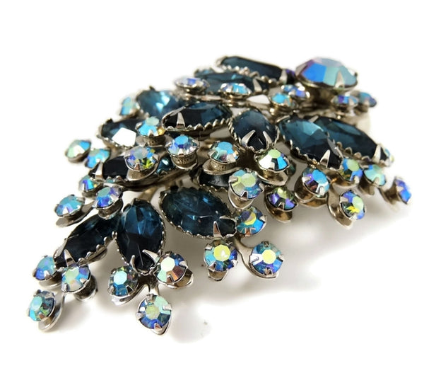 Vintage Teal AB Rhinestone Spray Brooch BIG Dazzling - Premier Estate Gallery  - 2