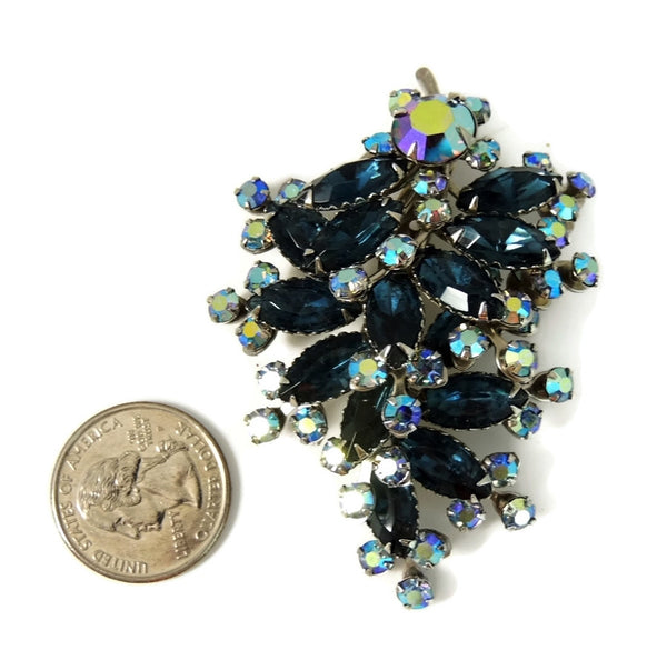 Vintage Teal AB Rhinestone Spray Brooch BIG Dazzling - Premier Estate Gallery  - 4