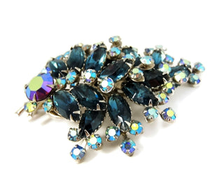 Vintage Teal AB Rhinestone Spray Brooch BIG Dazzling - Premier Estate Gallery  - 1
