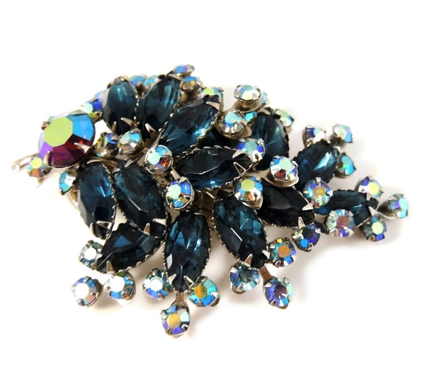 Vintage Teal AB Rhinestone Spray Brooch BIG Dazzling - Premier Estate Gallery  - 3