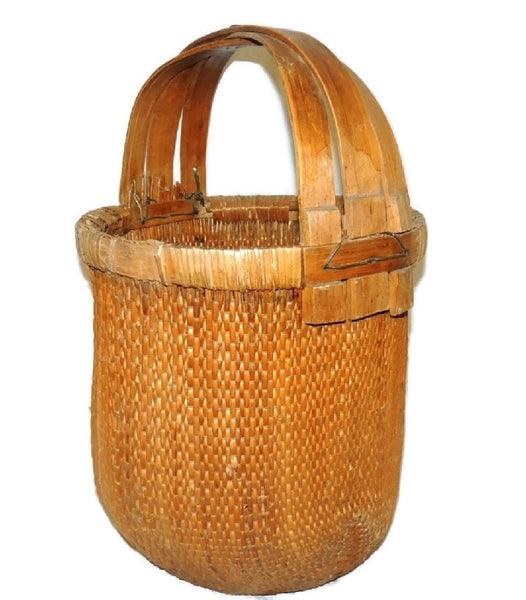Bentwood Handle Bamboo Basket Large Vintage Country Decor