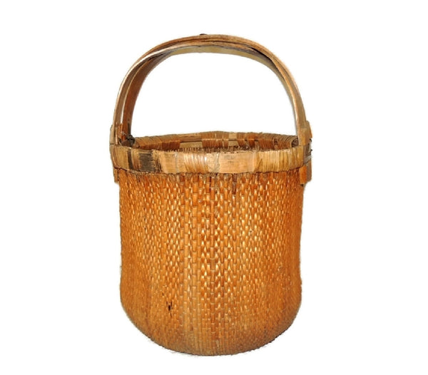 Bentwood Handle Bamboo Basket Large Vintage Country Decor - Premier Estate Gallery  - 2