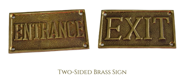 Vintage Brass ENTRANCE EXIT Reversible Brass Sign Solid Cast c1960 Great Gold Decor - Premier Estate Gallery 1
