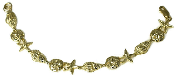 14k Coastal Themed Bracelet Shells Starfish Sand Dollars 9g Gold - Premier Estate Gallery