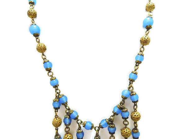 1920s Fringe Filigree Czech Glass Bead Necklace Art Deco Era - Premier Estate Gallery  - 4