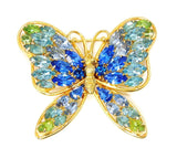 Vintage Butterfly Rhinestone Brooch Napier Blues and Green Large - Premier Estate Gallery  - 1