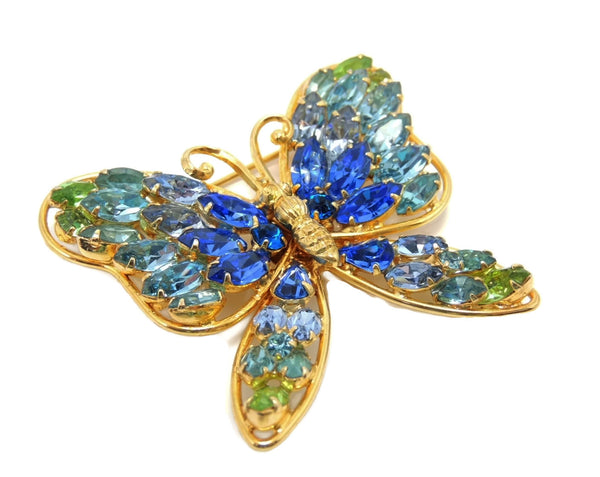 Vintage Butterfly Rhinestone Brooch Napier Blues and Green Large - Premier Estate Gallery  - 2