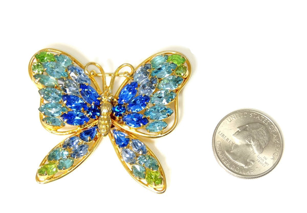 Vintage Butterfly Rhinestone Brooch Napier Blues and Green Large - Premier Estate Gallery  - 4