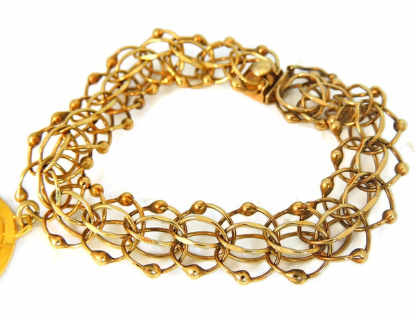 14k Gold Fancy Link Bracelet Vintage