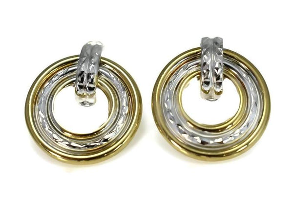 14k Yellow White Gold Drop Circle Earrings Vintage Two Tone - Premier Estate Gallery 2