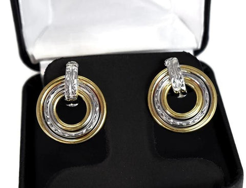 14k Yellow White Gold Drop Circle Earrings Vintage Two Tone - Premier Estate Gallery 1
