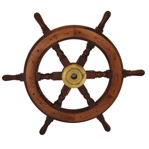 Vintage Nautical Ship's Wheel in Mahogany and Brass Large 24.5 Inch - Premier Estate Gallery 2