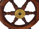 Vintage Nautical Ship's Wheel in Mahogany and Brass Large 24.5 Inch
