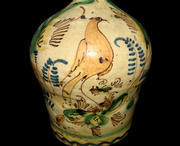 Earthenware Jug Bird Decorated with Tin Glaze Early 19th Cent - Premier Estate Gallery