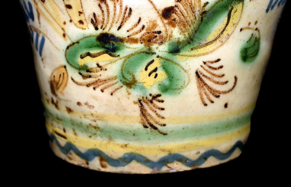 Earthenware Jug Bird Decorated with Tin Glaze Early 19th Cent